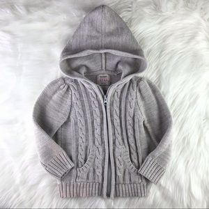 Toddler Chunky Cable Knit Hooded Sweater 2T